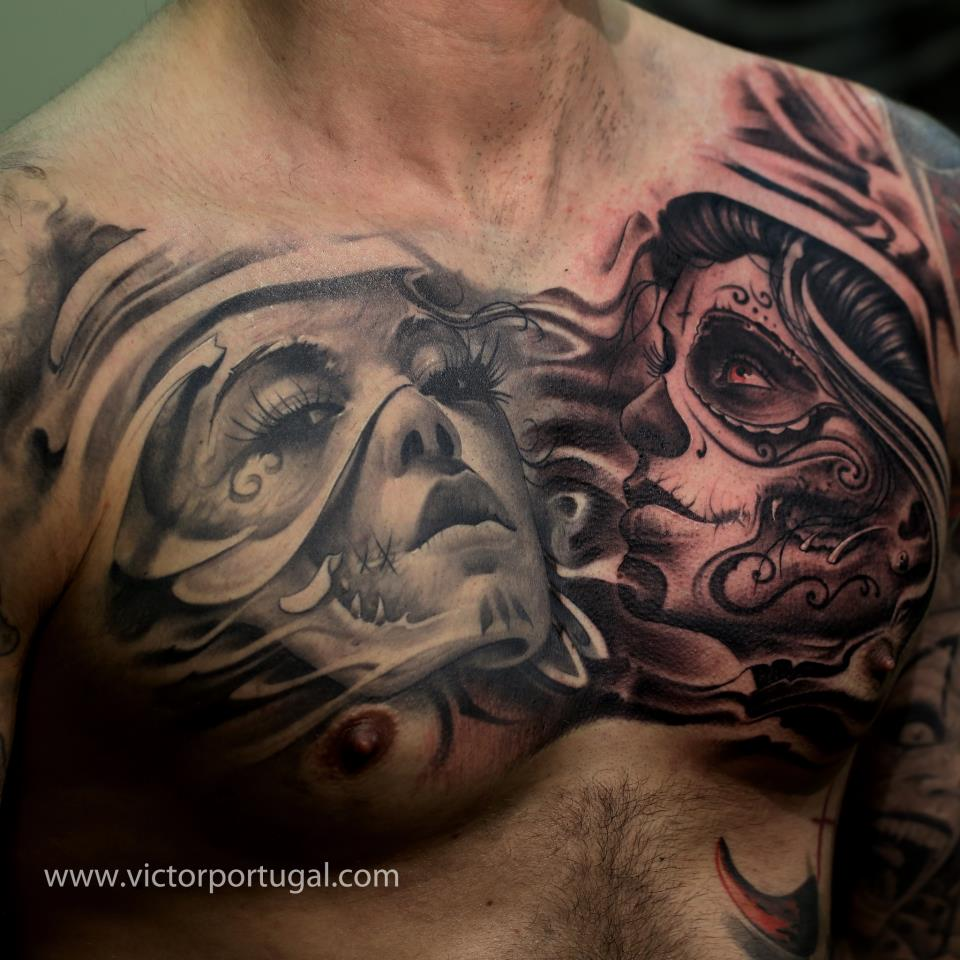 Tattoo Designs On Chest: The Flying Fruit Bowl