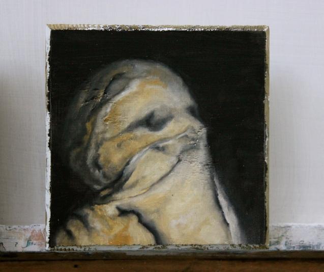'Untitled 1' oil on wood block